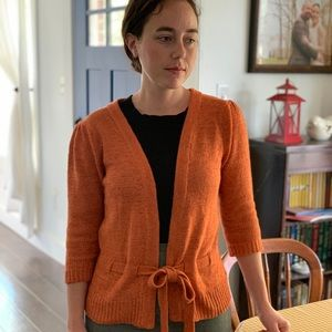 August Silk Pumpkin Colored Cardigan With Tie, SP